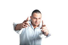 Young man pointing Royalty Free Stock Image