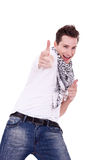 Young man pointing at the camera Royalty Free Stock Image