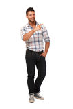 Young man pointing at copyspace Royalty Free Stock Photo