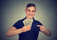 Excited man happy with profit stock photos