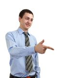 Young man pointing finger Royalty Free Stock Images