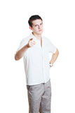 Young man pointing a finger Royalty Free Stock Photos