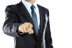 Young man pointing a finger towards you Stock Image