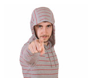 Young Man pointing finger at you Stock Images