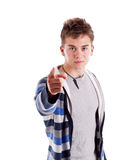 Young man pointing finger at you Royalty Free Stock Images