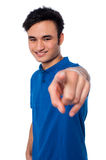 Young man pointing finger at you Royalty Free Stock Photography
