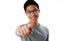 Young man pointing finger at you Stock Photos