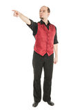 Young man pointing his finger isolated Stock Photography