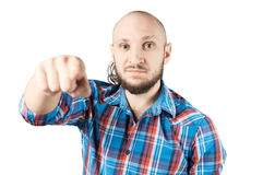 Young man pointing with his finger at you Royalty Free Stock Photography