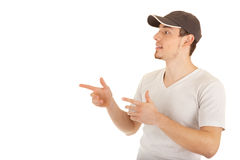 Young man is pointing sideways Stock Photography
