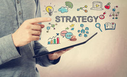 Young man pointing at Strategy concept Royalty Free Stock Photo