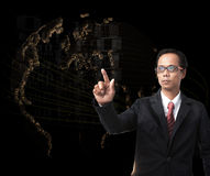 Young man pointing to forward with world digital map on backgrou Royalty Free Stock Images