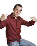 Young man pointing to himself. Isolated on white royalty free stock photo