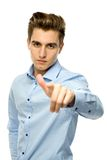 Young man pointing at you Stock Photo