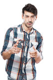 Young man pointing at you Stock Images