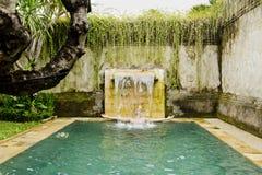 Young man in the pool. Young man in the pool in a luxury villa Royalty Free Stock Photos
