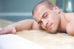 Young man pool portrait Royalty Free Stock Photo