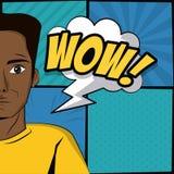 Young man pop art cartoon stock illustration