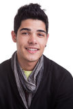 Young Man. Portrait of a casual young man, smiling, over white background stock photography