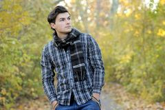 Young man portrait in park. Stock Photography