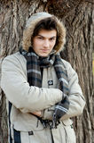 Young man portrait in park. Royalty Free Stock Image