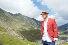 Young man poses outdoor Royalty Free Stock Photos