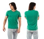 Young man posing with blank green shirt Royalty Free Stock Image