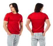 Young man posing with blank red shirt Royalty Free Stock Photo