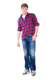 Young man posing in checked shirt Royalty Free Stock Photo
