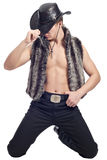 Young man posing in cowboy's hat Stock Photography