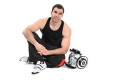 Young man posing with dumbbell Stock Photography