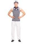 Young man posing in sailor outfit Stock Photos