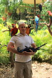 Young man posing with several exotic birds,Jungle Island,Miami,2014 Stock Image