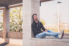 Young  man posing in an urban context Royalty Free Stock Photography
