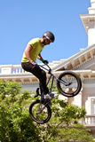 Young Man Practices Bicycle Ramp Jumps At BMX Competition Royalty Free Stock Images