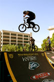 Young Man Practices Jumps For BMX Competition Royalty Free Stock Photos