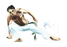 Young man practicing capoeira, fighting isolated on white background. Concept about people, lifestyle and sport. Watercolor hand drawn  illustration Stock Images