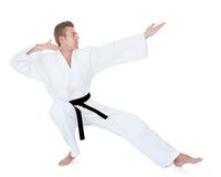 Young Man Practicing Karate Royalty Free Stock Images