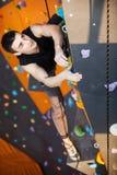Young man practicing top rope climbing Stock Image