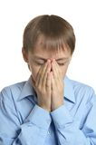 Young man praying head bowed Royalty Free Stock Images