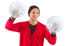 Young man presenting Royalty Free Stock Images