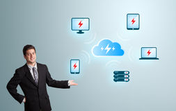 Young man presenting cloud computing network Royalty Free Stock Photos
