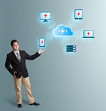Young man presenting cloud computing network Stock Image