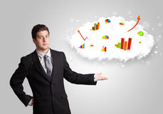 Young man presenting cloud with graphs and charts Royalty Free Stock Photo