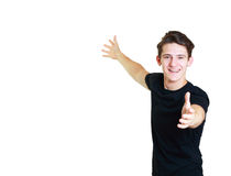 Young man presenting Stock Photo