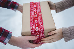Young man presents women Christmas gift in the forest Stock Images