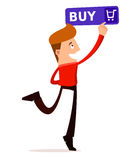 Young man press the buy button Stock Photo