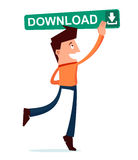 Young man press the download button Royalty Free Stock Photo