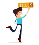 Young man press the sell button Stock Images