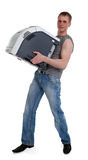 Young man with a printer in the hands of Stock Photography